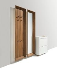 Austrian interior design stronghold Team 7 delivers three entry hall systems that fit into any style of home seamlessly. Storage Shelves, Tall Cabinet Storage, Clothes Stand, Modern Entryway, Hallway Designs, Panel Systems, Team 7, Entry Hall, Space Saving