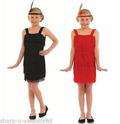 Girls black and red flapper fancy dress costumes. Perfect outfits for a 1920s Gatsby party