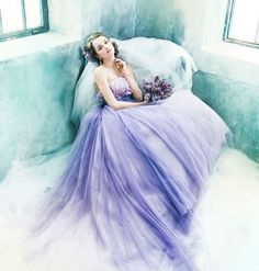 This ethereal lavender gown from Novarese must be out of a fairy tale! #dress #gown #lavender #purple #weddingdress #bride #wedding #praisewedding