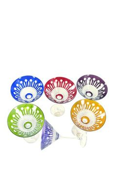 Yvan Assorted Color Crystal Martini Glasses - Set of 6 by Laguiole Cutlery on @HauteLook