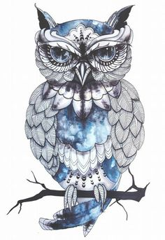 amazing-blue-owl-tattoo-design from Gettattoed.com in Richmond, VA ...