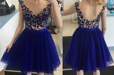 Tulle Homecoming Dress,Short Homecoming Dress,Royal Blue Homecoming Dress,Applique Homecoming Dress,Short Prom Dress,Sweet 16 Dress