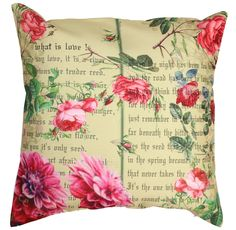 "Blooming Lyrics - 18 x 18"" #Multicolor #Art #Pillow / #Cushion #Cover – Decorative Flowers & Lyrics #Throw Covers- Unique Home #Decor Ideas"