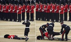 A soldier in the Household Division collapsed during the Trooping the Colour ceremony at Horse Guards Parade in London today, which were marking the Queen's official 90th birthday celebrations.