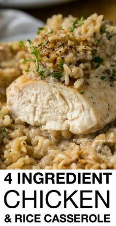 Chicken Rice Casserole makes for a crowd-pleasing dinner that comes together in under 5 minutes of prep time. Made with only 4 ingredients, this meal packs a lot of flavor in a filling one dish dinner (Easy Meal For Supper) One Dish Dinners, One Pot Meals, Meals For A Crowd, Rice Dinners, Cheap Dinners, Crockpot Recipes, Healthy Recipes, Yummy Recipes, Soup Recipes