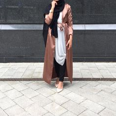 Satin trench styling