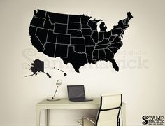 United States Map Decal USA Map Sticker State Map Wall Mural