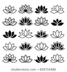 Illustration about Black and white lotus flowers icons, different shapes and styles. Illustration of culture, design, lotus - 94382363 Lotus Outline, Flower Outline, Tattoo Outline, Lotus Art, Design Lotus, Simple Lotus Flower Tattoo, Lotus Flowers, Tattoo Simple, Lotus Flower Drawings