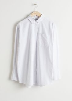 e5e3167b Front image of Stories oversized button down shirt in white Button Down  Outfit, Oversized Button