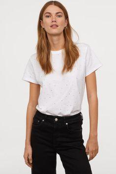T-shirt with Motif - White/rhinestones H&M H&m Gifts, Fashion Company, Everyday Fashion, Rib Knit, Personal Style, Online Price, T Shirt, Thing 1, Model