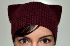 Kitty hat, cat ears, warm wool crochet knit hat, skullcap, beanie - Made to order on Etsy, $29.19