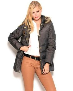 Title: Anne Klein Faux Fur Lined Quilted Jacket Brand Name: Anne Klein Item Type: Apparel Item: Jacket Made In: Imported Gender: Women Condition: Brand New Material: Shell: 62% Nylon 38% Polyester, Lining: 100% Polyester, Filling: 60% Down 40% Waterfowl Feathers, Knit Trim & Faux Fur: 100% Acrylic Neck Type: Hooded Sleeves: Long sleeves Care Instructions: Machine wash Fit: Classic Fit