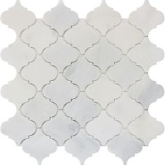 Backsplash-Arabesque Carrara Marble Polished Mosaic - Pack of 5