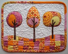 Modern Trees mini quilt by PatchworkPottery, via Flickr. This would look wonderful in wool.