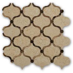 12x12 Exquisite Highland Arabian Crema & Emperador Polished Marble Tile in Cream, Light & Dark Shades at TileBar.com.