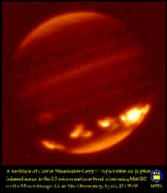 Effect of multiple fragments of Comet Shoemaker-Levy 9 impact with Jupiter; so-called `string of pearls' wrapped around the planet like a necklace. 25 July 1994. Via Calar Alto Observatory near-infrared camera MAGIC