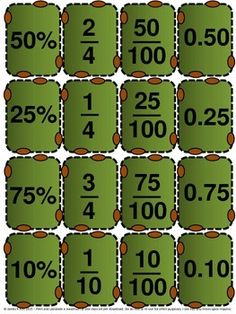 Decimals, fractions & percentages cards to PRINT & LAMINATE. Now in American Football style. A great resource for any math stations, even after the football season. Suitable to use all year round. 139 mini cards (WITH 69 additional templates for kids to color / colour in). 16 per A4 sheet. Great for comparing percentages, fractions, decimals, shapes, etc. Suitable to print & laminate in color / colour. Fractions, fraction, decimals, decimal. Year / grade 3 4 5.