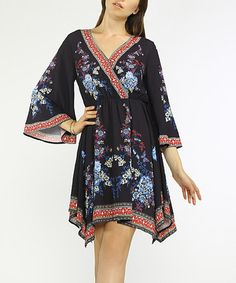 Look what I found on #zulily! Black & Blue Floral Surplice Bell-Sleeve Dress #zulilyfinds
