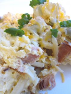 Crock Pot Breakfast - Ham, eggs, onion, hash brown, green pepper, and cheese.