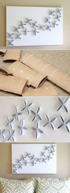 DIY Modern Wall Decorations of Toilet Paper Rolls.i saw something more crafty using this method the other day and immediately began cutting up my empty toilet rolls. Toilet Paper Roll Art, Rolled Paper Art, Toilet Paper Roll Crafts, Home Crafts, Diy And Crafts, Crafts For Kids, Arts And Crafts, Do It Yourself Decoration, Modern Wall Decor