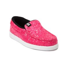 Shop for YouthTween DC Villain Skate Shoe in Pink at Journeys Kidz. Shop today for the hottest brands in mens shoes and womens shoes at JourneysKidz.com.Stylin slip-on board shoe from DC, the VIllain features a soft textile upper covered in shiny neon pink sequins, moc toe stitch, and elastic goring at the midfoot for easy on-and-off. Includes a lightly padded collar and  rubber traction outsole for comfort and durability.