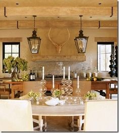 kitchen hood, lanterns and tablescape