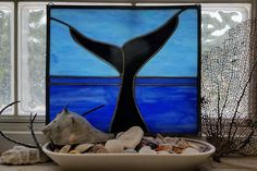 Items similar to Handmade Stained Glass Whale Panel Framed Ocean Scene Wall Hanging Suncatcher on Etsy Arts Integration, Ocean Scenes, Stained Glass, Whale, Sculpture, Island, Unique Jewelry, Handmade Gifts, Painting