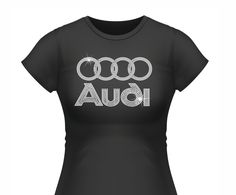 Audi 4 Circle Rhinestone Tee The design has 1533 rhinestones the will shine and BLING your AUDI AUTO PRIIDE! *our stones are super shiny each stone has 12 facets.