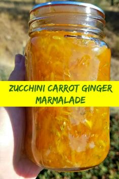 Recipes for Canning Zucchini: How to Deal with Zucchini Overload: Zucchini Carrot Ginger Marmalade When the zucchini threaten to overtake your kitchen turn them into this tasty marmalade. Carrot Recipes, Jelly Recipes, Jam Recipes, Carrot Jam Recipe, Cooker Recipes, Ginger Marmalade Recipe, Rhubarb Marmalade, Recipies, Canning Tips