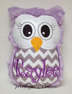 Purple and Gray Chevron Plush Owl Reading Buddy by MonogramPerfect, $24.95 CUTE ... in pink tho