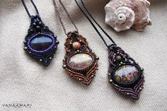 Macrame necklace with amethyst / jasper tribal fairy pixie
