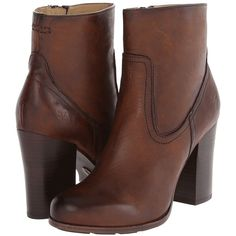 Frye Parker Short (Dark Brown Antique Pull Up) Cowboy Boots ($180) ❤ liked on Polyvore featuring shoes, boots, ankle booties, ankle boots, brown, western boots, short boots, brown cowgirl boots, chunky-heel ankle boots and dark brown booties