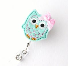 Mint Owl - Name Badge Holder - Cute Badge Reels - Unique Retractable ID Badge Holder - Felt Badge Reel - RN Badge - BadgeBlooms via Etsy