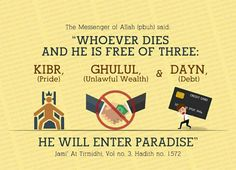 Who ever never dies without  kibr ghulul or dayn will enter jannah inshallah