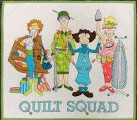 """Quilt Squad"" by Amy Bradley.  The kit includes all the pieces precut with fusible on the back.  You just need to press and sew!  We have fabric pack with the background & binding fabric.  It's also available as a traditional applique pattern."