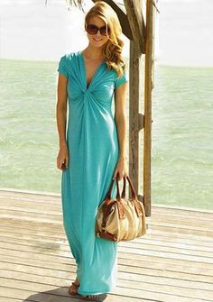 aqua dress- love the gathering at the bust line :)