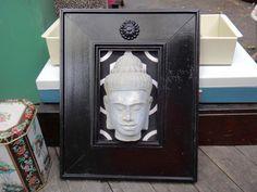 Zen, Mindfulness, Meditation, Black Decor, Black Frame, White Black Decor, Frame, Painted Frame, Asian, Medallion, Zen Statue, Yoga, Peace by CasaKarmaDecor on Etsy