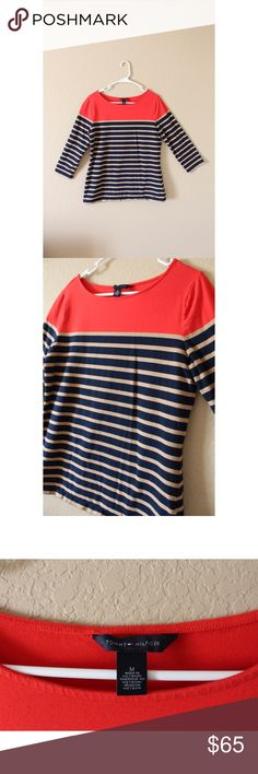 Tommy Hilfiger Striped 3/4 Sleeve Tee NWOT • Another purchase I made without trying on! This is one size too big for me, and has never been worn • size M • 92% Cotton, 8% Elastane • super soft and obviously phenomenal TH quality Tommy Hilfiger Tops Tees - Long Sleeve