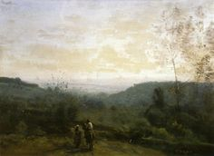 Morning, Fog Effect, 1853 by Camille Corot. Realism. landscape. Musée Fabre, Montpellier, France