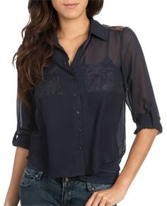 High-Low Chiffon Lace Shirt from WetSeal.com