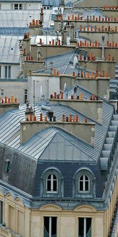 Paris rooftops by Sophie Pasquet // city, chimneys Beautiful Paris, I Love Paris, Most Beautiful Cities, Beautiful Buildings, Paris Travel, France Travel, Midnight In Paris, Paris Rooftops, Paris Architecture
