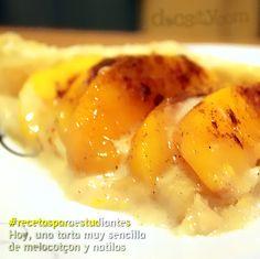 #recetasparaestudiantes  Hoy una #receta ideal para las frenéticas comidas de #navidad:  Tarta de melocotón con natillas