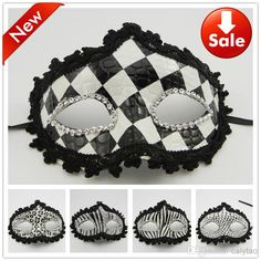 Wholesale Black White Mask - Buy New Sexy Black-white Grid Stripe Leather Mask Novelty Wedding Party Gift Carnival Mardi Gras Costume Half Face Bride Prop $1.35 | DHgate