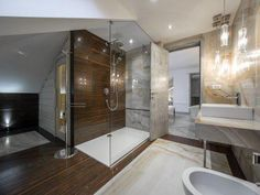 Contemporary master bathroom ideas modern master bathroom luxury modern master bathroom with walk in shower and Modern Master Bathroom Luxury, Master Bathroom Design, Modern Bathroom Design, Bathroom Styling, Contemporary Master Bathroom, Master Bathroom Renovation, Bathroom Renovations, Bathroom Floor Plans, Bathroom Design