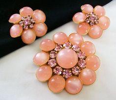 PINK MOONGLOW CABACHON & RHINESTONE JUDY LEE FLOWER BROOCH PIN EARRINGS SET | eBay