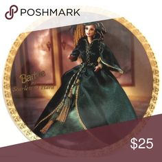 """1995 GONE WITH THE WIND BARBIE 8"""" PLATE 1995 GONE WITH THE WIND SCARLETT O'HARA BARBIE 8"""" PLATE.       IT IS 8"""" DIAMETER.   IT HAS ALL THE MARKING AND WRITING AND NUMBERED ON THE BACK OF THE PLATE. NUMBER OF PLATE IS 3,303 OUT OF 10,000  SORRY I DON'T HAVE THE BOX OR CERTIFICATE .  Excellent condition. Other"""