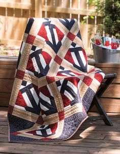 "An antique quilt was the inspiration for this quilt by Marianne Fons. Our instructions will help you get underway making your own Quilt of Valor. Watch Marianne make these blocks in ""Love of Quilting"" episode 2413 on PBS. #LoveofQuilting #QuiltsofValor #patriotic #quilt #quiltblock #FonsandPorter"