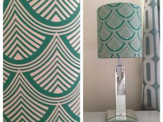 Master bedroom makeover, Art Deco lamp shade and curtains from Prestigious Textiles fabric