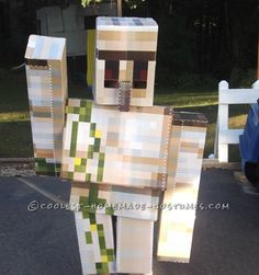 Cool DIY Cardboard Box Costumes: Minecraft Iron Golem and Herobrine - 4