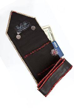 16b37bca5 Black Leather Red Stones Wallet Cuff Arm Clutch Hidden | Etsy Monederos,  Puños De Cuero